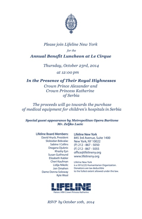 Official Invitation for the Luncheon on October 23rd 2014